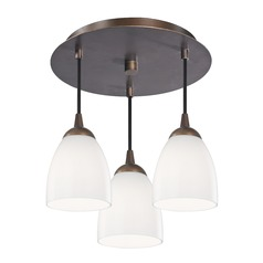 3-Light Semi-Flush Lightt with Opal White Bell Glass - Bronze Finish