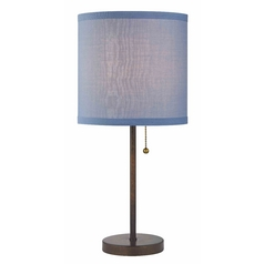 Pull-Chain Table Lamp with Blue Linen Shade