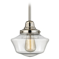 8-Inch Clear Glass Schoolhouse Mini-Pendant Light in Polished Nickel