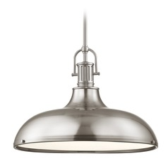 Industrial Satin Nickel Metal Pendant Light 18.38-Inch Wide