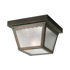 Progress Outdoor Ceiling Light with White Glass in Bronze Finish