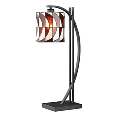 Tiffany Table Lamp with Multi-Color Glass in Matte Black