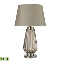 Dimond Lighting Smoked Glass, Brushed Steel LED Table Lamp with Empire Shade