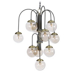 Mid-Century Modern Seeded Glass Cluster LED Chandelier Bronze/Brass Reverb by Maxim