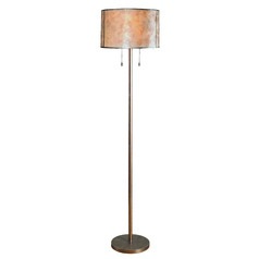 Alec Warm Antique Silver Floor Lamp with Drum Shade by Kenroy Home