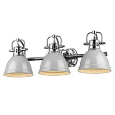 Golden Lighting Duncan Chrome Bathroom Light with Grey Shade