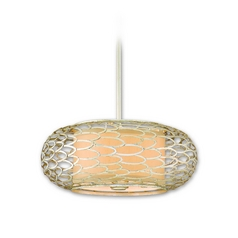 Modern Pendant Light with Beige / Cream Shades in Modern Silver Finish