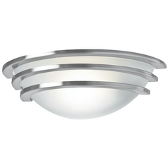 Access Lighting Modern Sconce with White Glass in Brushed Steel Finish 50132-BS/FST