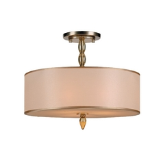 Modern Semi-Flushmount Light with Gold Shade in Antique Brass Finish