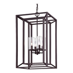 Rectangle Caged Chandelier with Seedy Glass