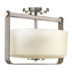 Modern Farmhouse Semi-Flushmount Light Brushed Nickel Aspen Creek by Progress Lighting