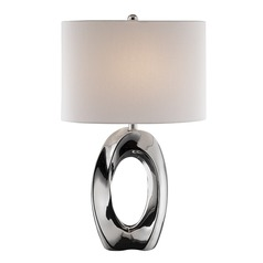 Lite Source Clover Chrome Table Lamp with Drum Shade