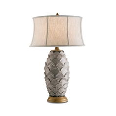 Table Lamp with Beige / Cream Shade in Antique White/ Gold Finish