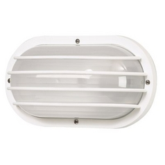 White Oval Bulkhead Marine Outdoor Wall Light with Frosted Acrylic