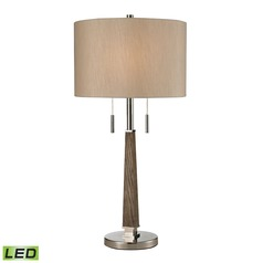 Dimond Lighting Wood, Polished Nickel LED Table Lamp with Drum Shade