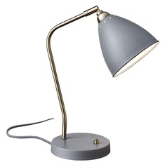 Mid-Century Modern Desk Lamp Brass and Grey Chelsea by Adesso Home Lighting