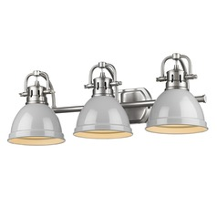 Golden Lighting Duncan Pewter Bathroom Light with Grey Shade