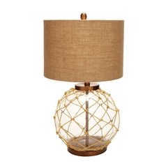 UMA Enterprises Nautical Rope Table Lamp with Burlap Drum Shade 97323