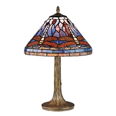Table Lamp with Multi-Color Glass in Dark Bronze Finish