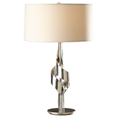 Hubbardton Forge Lighting Flux Vintage Platinum Table Lamp with Drum Shade