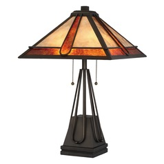 Quoizel Lighting Pearce Terra Bronze Table Lamp with Square Shade