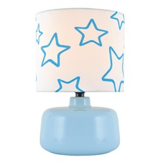 Lite Source Twinkle Blue Table Lamp with Drum Shade