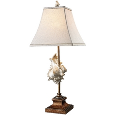 Table Lamp with Beige / Cream Shade in Conch Shell and Bronze Finish