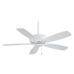 52-Inch Ceiling Fan Without Light in White Finish