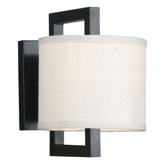 Sconce Wall Light with Beige / Cream Shade in Oil Rubbed Bronze Finish