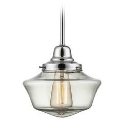 8-Inch Clear Glass Schoolhouse Mini-Pendant Light in Chrome Finish