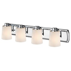 4-Light Bath Vanity Light in Chrome with White Glass