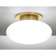 Holtkoetter Modern Semi-Flushmount Light with White Glass in Brushed Brass Finish