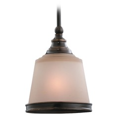 Sea Gull Lighting Warwick Autumn Bronze Mini-Pendant Light with Cylindrical Shade