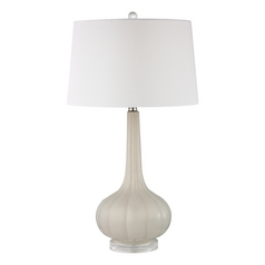 Table Lamp with White Shades in Off White Finish