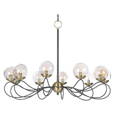 Mid-Century Modern Seeded Glass LED Chandelier Bronze / Brass Reverb by Maxim Lighting