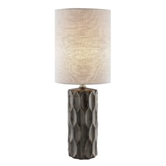 Lite Source Halsey Gun Metal Table Lamp with Cylindrical Shade