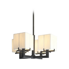 Modern Pendant Light with White Shades in Black Brass Finish