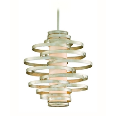 Modern Pendant Light with Beige / Cream Glass in Modern Silver Finish