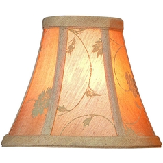 Beige Jacquard Bell Lamp Shade with Clip-On Assembly