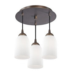 3-Light Semi-Flush Light with White Glass in Bronze Finish - Bronze Finish