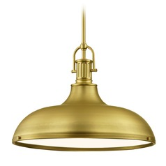 Industrial Brass Metal Pendant Light 18.38-Inch Wide