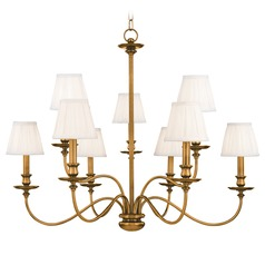 Chandelier with White Shades in Aged Brass Finish