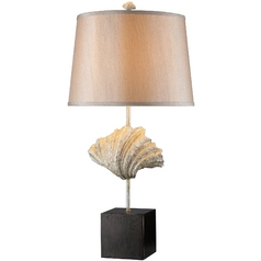 Table Lamp with Gold Shade in Oyster Shell and Dark Bronze Finish