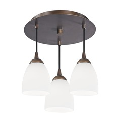 3-Light Semi-Flush Light with White Glass - Bronze Finish