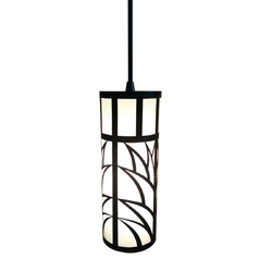 Black Mini-Pendant with Laser Cut Shade