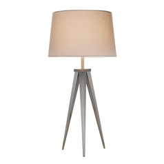 Mid-Century Modern Table Lamp Satin Steel Producer by Adesso Home Lighting