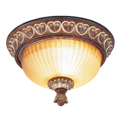 Livex Lighting Villa Verona Bronze with Aged Gold Leaf Accents Flushmount Light