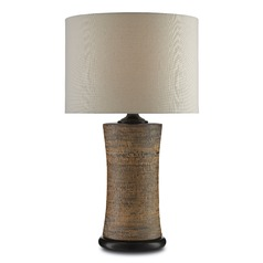 Currey and Company Malabar Tan/black Table Lamp with Drum Shade