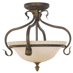 Semi-Flushmount Light with Beige / Cream Glass in Aged Tortoise Shell Finish