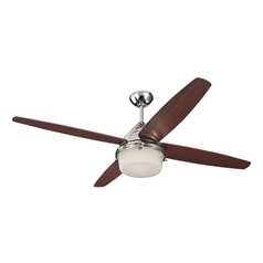 Ceiling Fan with Light with White Glass in Polished Nickel Finish